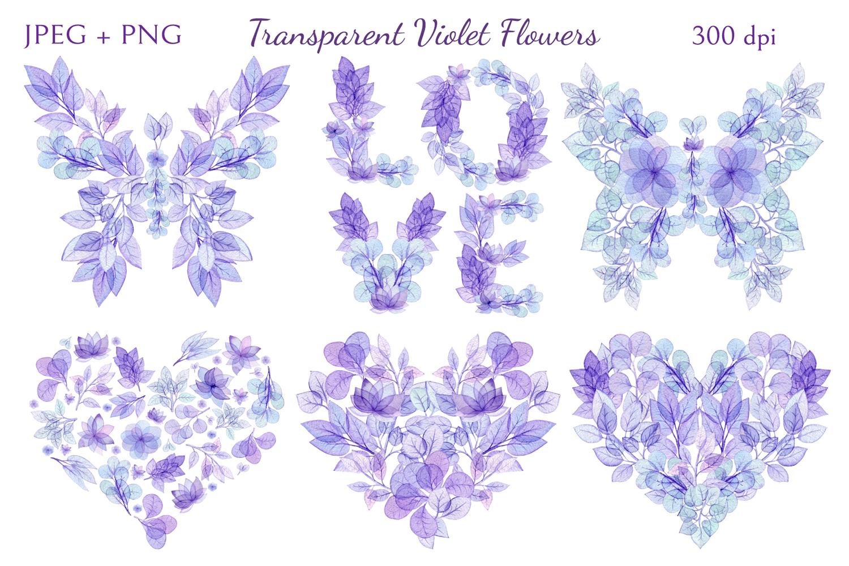 Transparent Violet Flowers example image 3