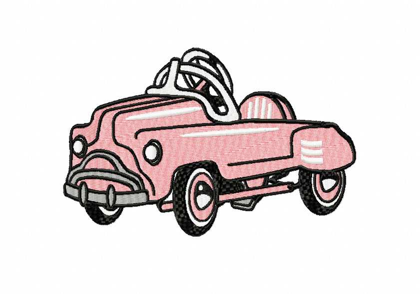 RETRO Pedal Car ~ Machine Embroidery Design in 2 sizes - Instant Download ~ Hurtling Down the Hill in our Pedal Cars example image 1