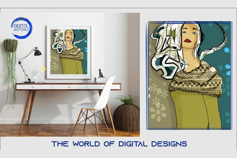 Printable Women Illustration Wall Art, .PDF Print Poster example image 1