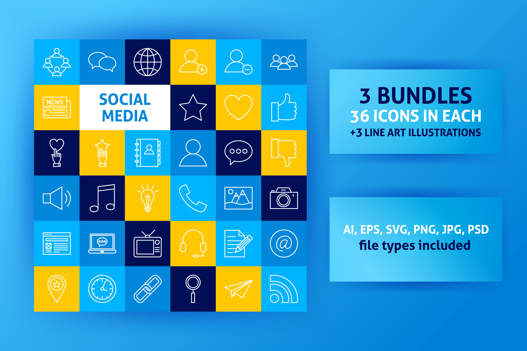 Social Media Line Art Icons example image 1