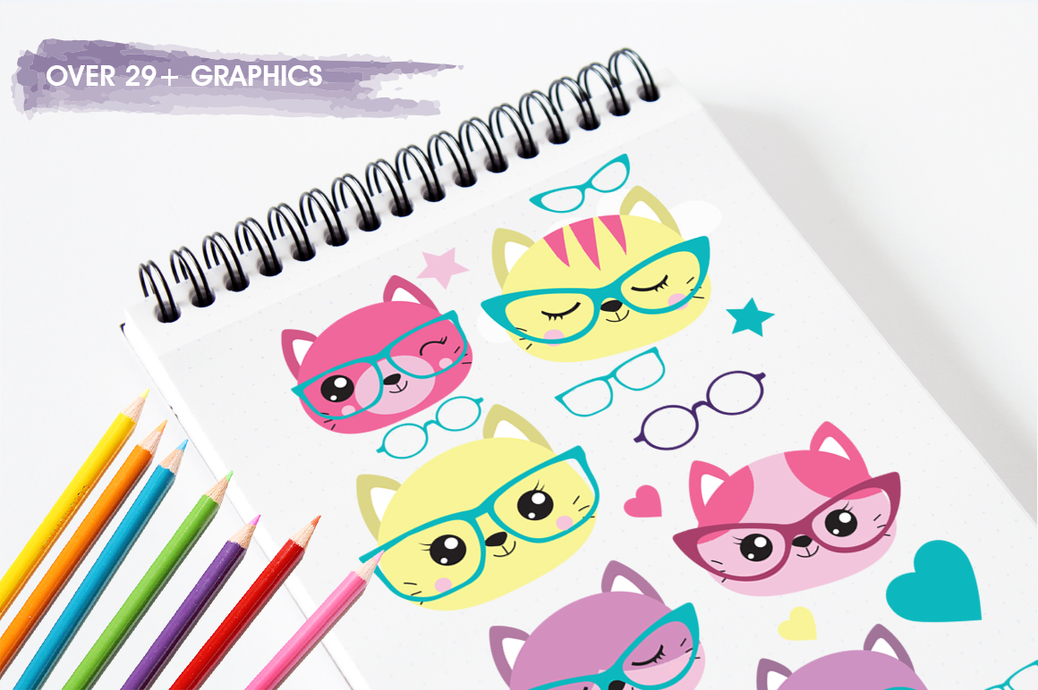 Hipster Cat graphic and illustrations example image 5