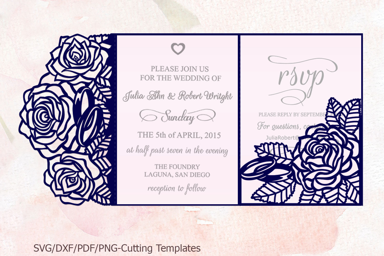 Roses wedding invitation Tri Fold Pocket Envelope set svg example image 5