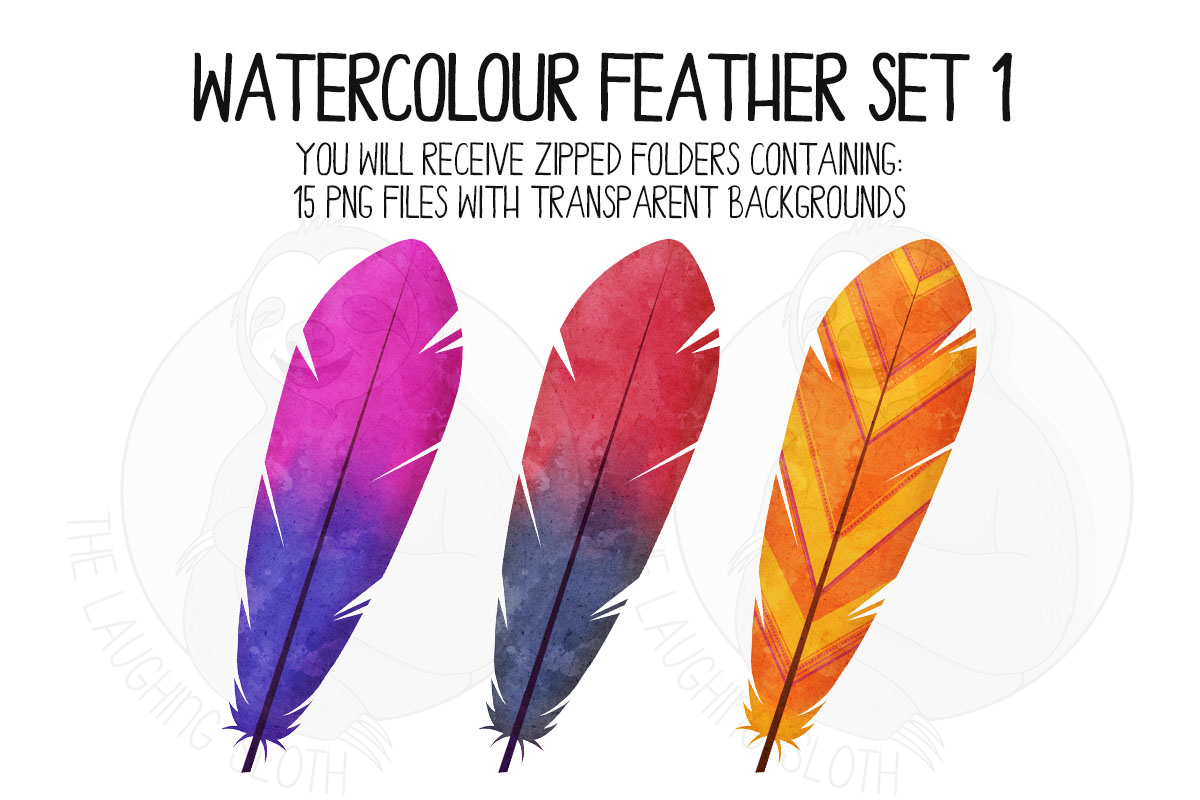 Watercolor Bright Feather Clip Art Set 1 example image 5