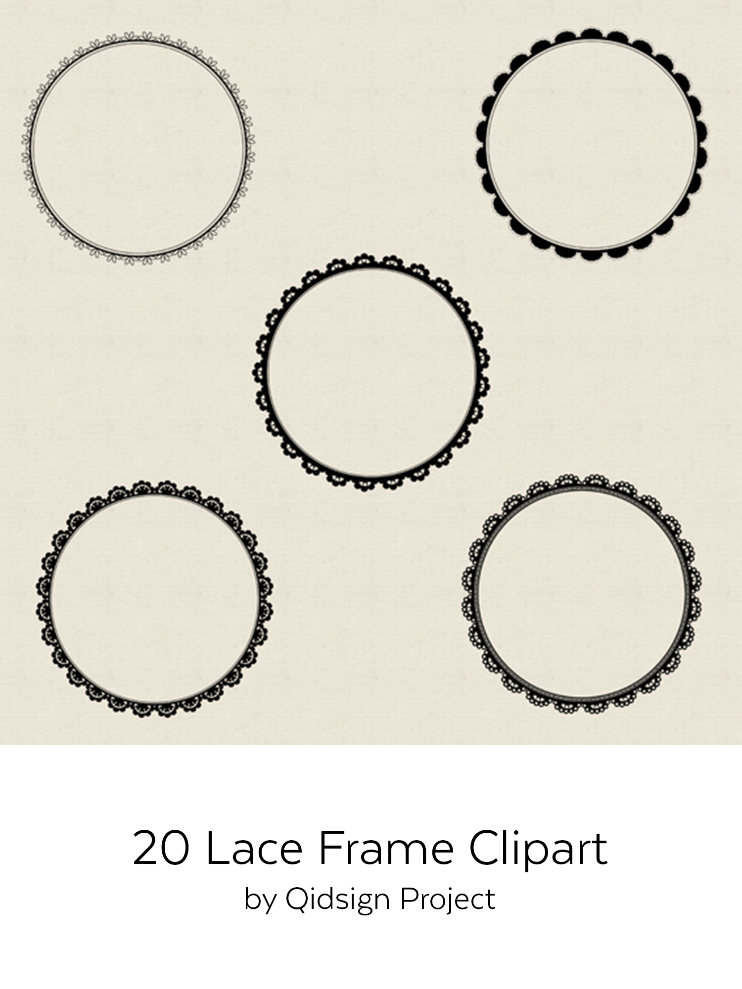 20 circle lace clipart | PNG | JPG example image 5