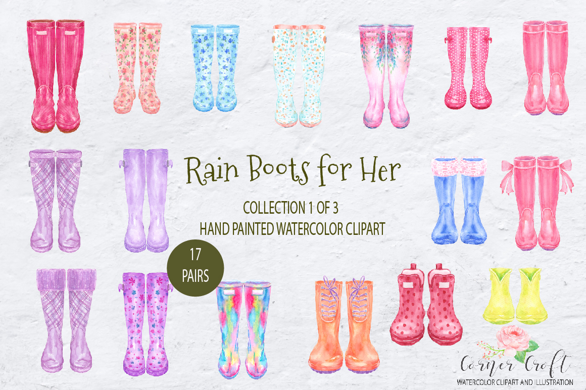 Watercolor Rain Boots For Her Watercolor Clip Art