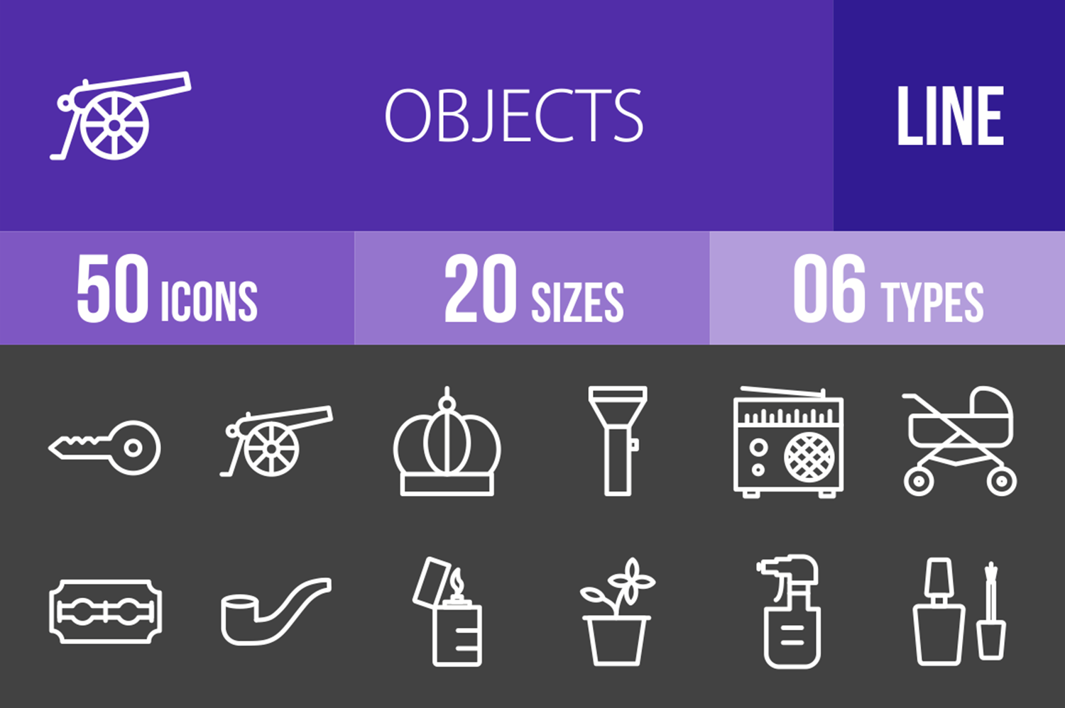 50 Objects Line Inverted Icons example image 1