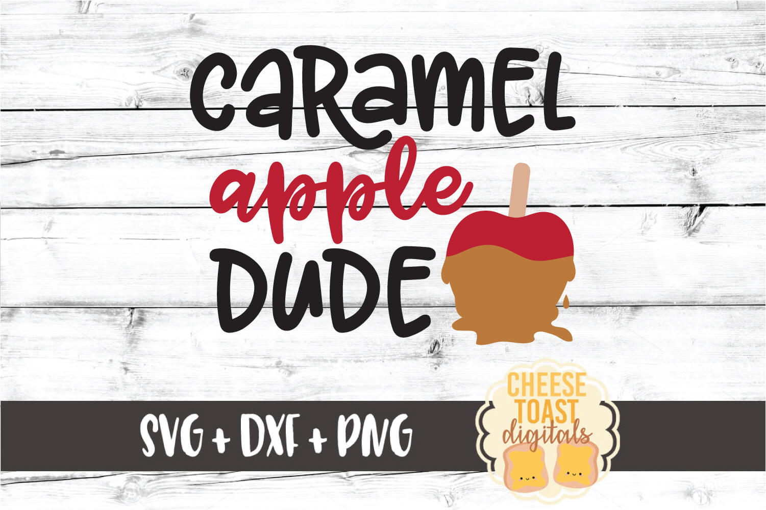 Caramel Apple Dude - Boy Fall SVG PNG DXF Cut Files example image 2