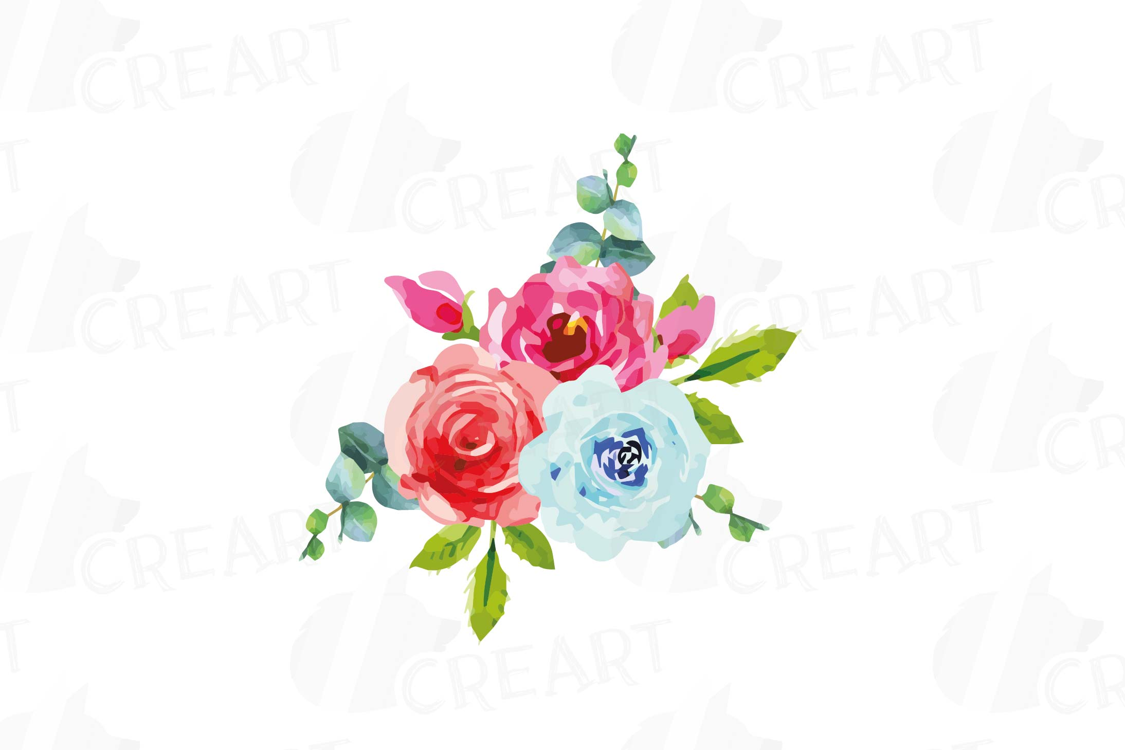 Boho pink and blue watercolor wedding bouquets, floral png example image 5