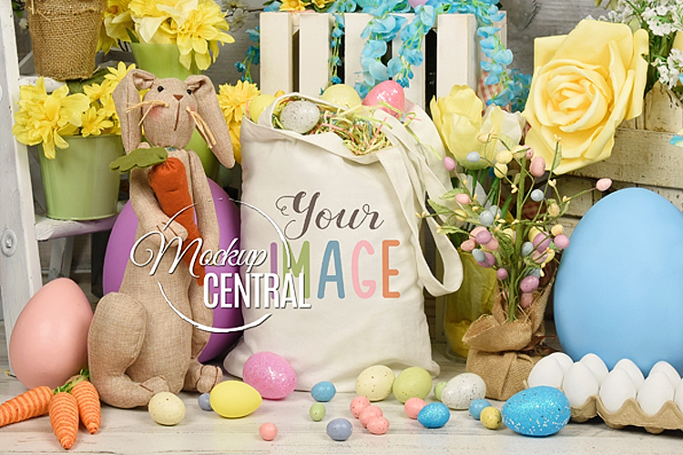 Blank White Easter Canvas Tote Bag Mockup Photo JPG example image 1