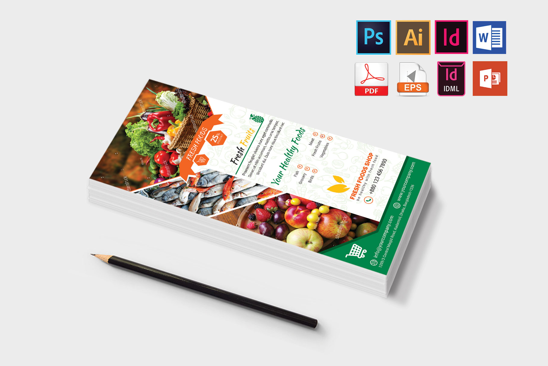 Rack Card | Fresh Food DL Flyer Vol-03 example image 3