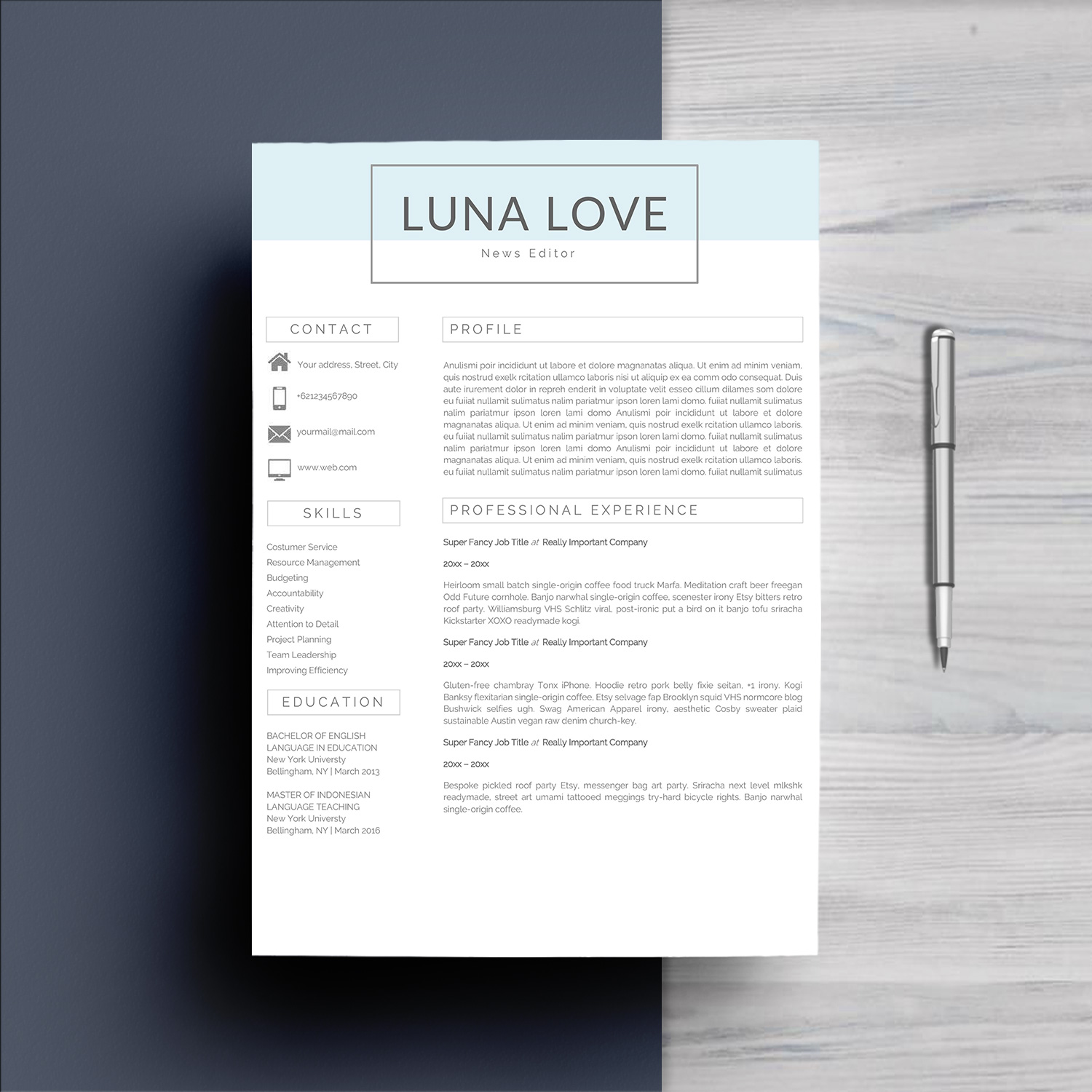 Professional 4 Pages Resume Template example image 2