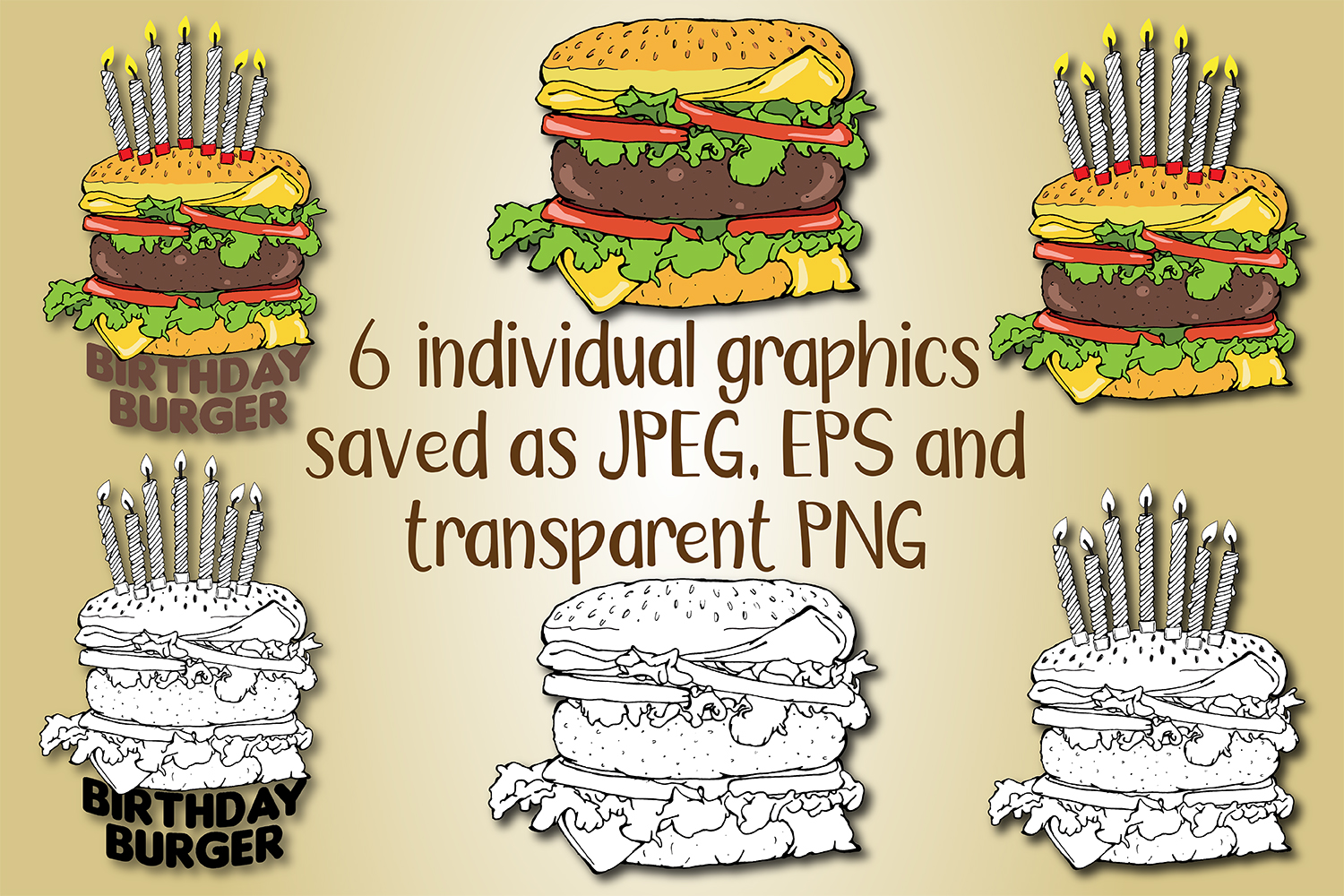 Cheeseburger Birthday Cake with Candles Hand Drawn Clipart example image 2