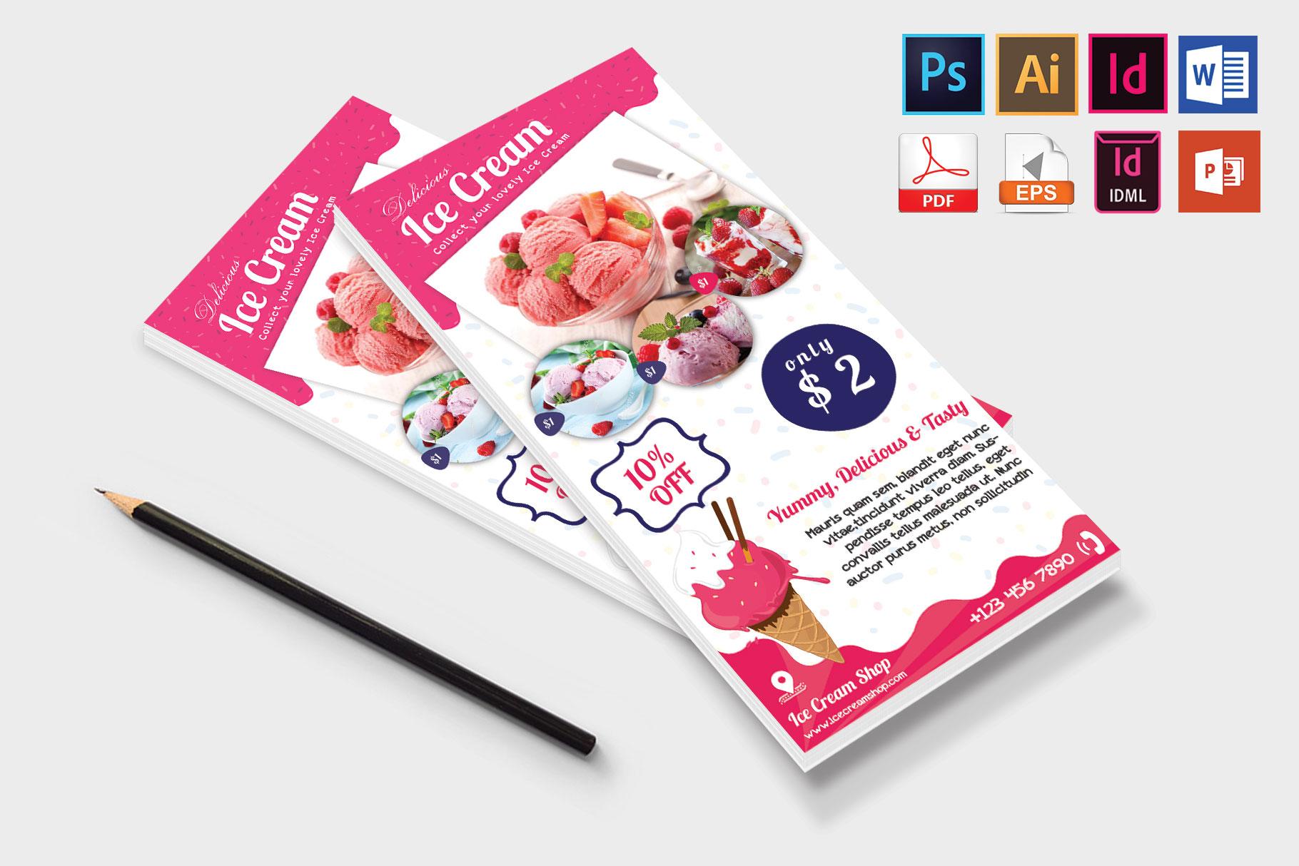Rack Card | Ice Cream Shop DL Flyer Vol-01 example image 4