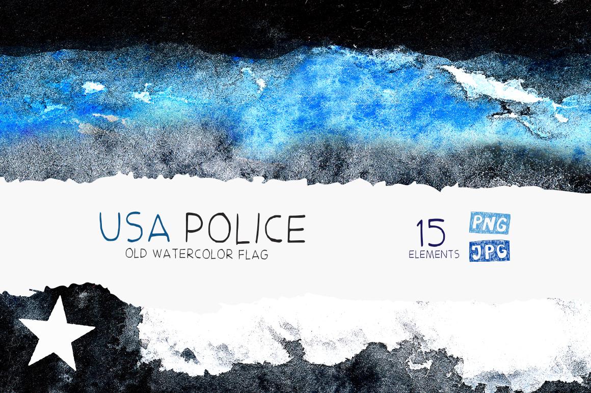 Police flag USA. Watercolor. example image 1
