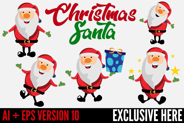 5 Christmas Santa Vector Characters example image 1