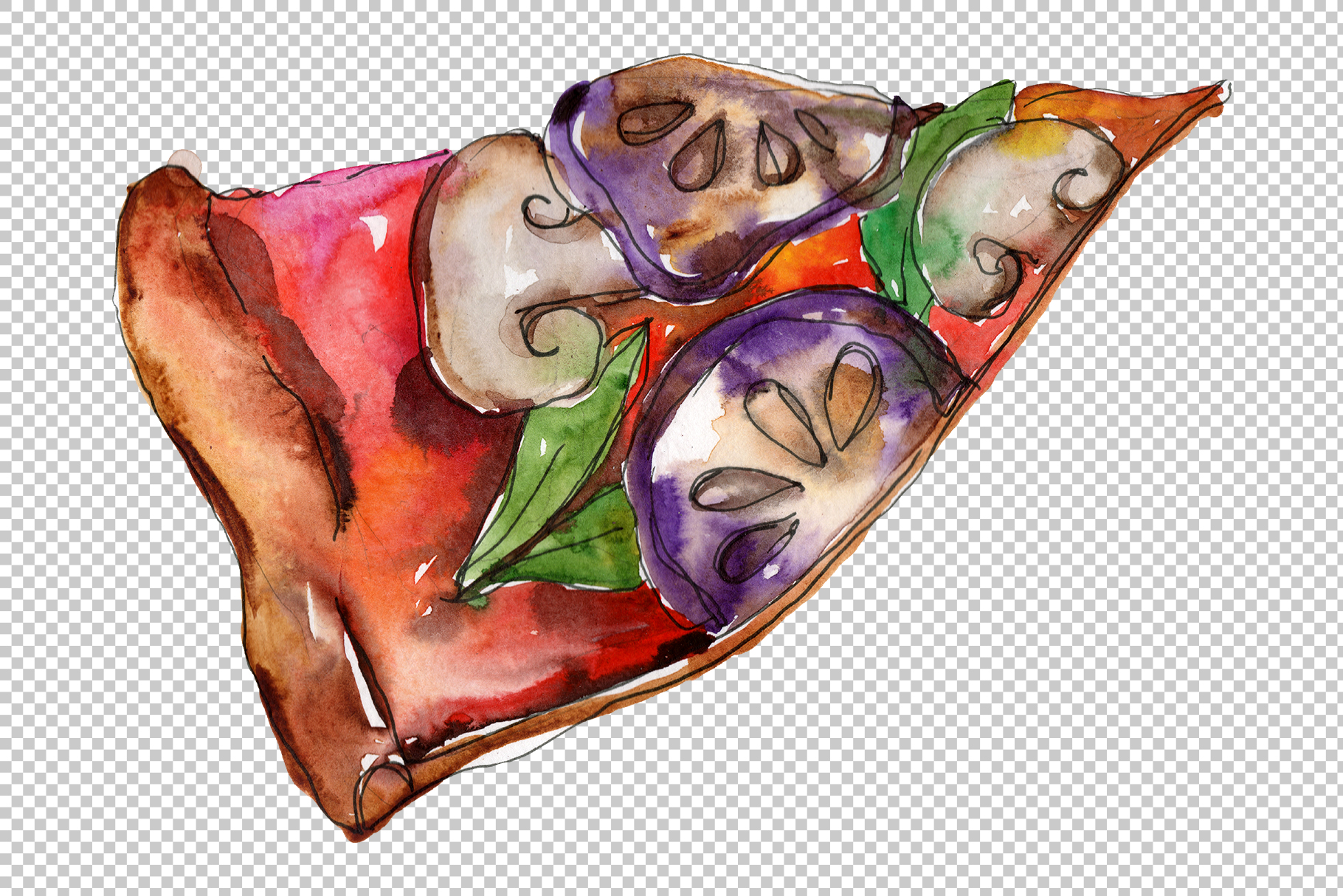 Pizza Margherita watercolor png example image 5