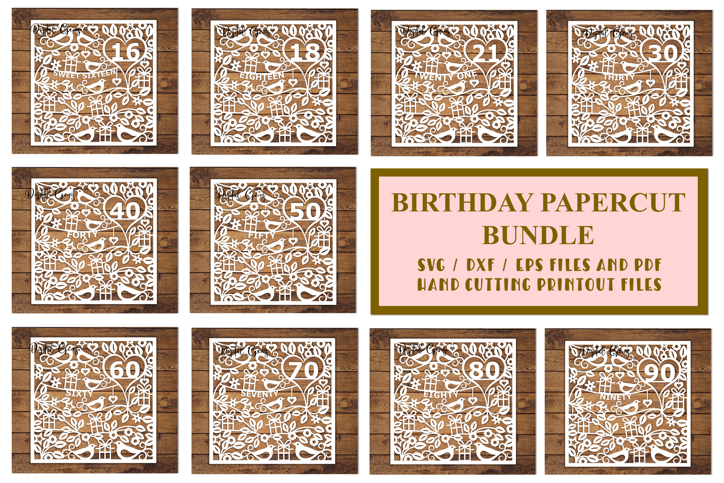 Birthday bundle. Paper cut SVG / DXF / EPS / PNG files example image 1