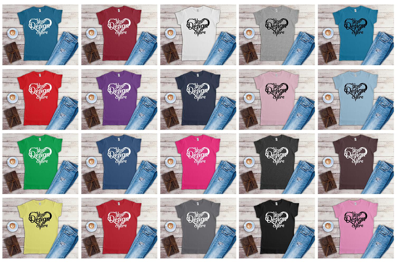 Gildan Ladies T-Shirt Mockup Mega Bundle Flat Lay 64000L example image 2