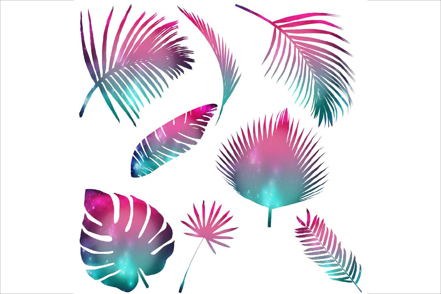Tropical Leaves Silhouettes Clipart example image 3