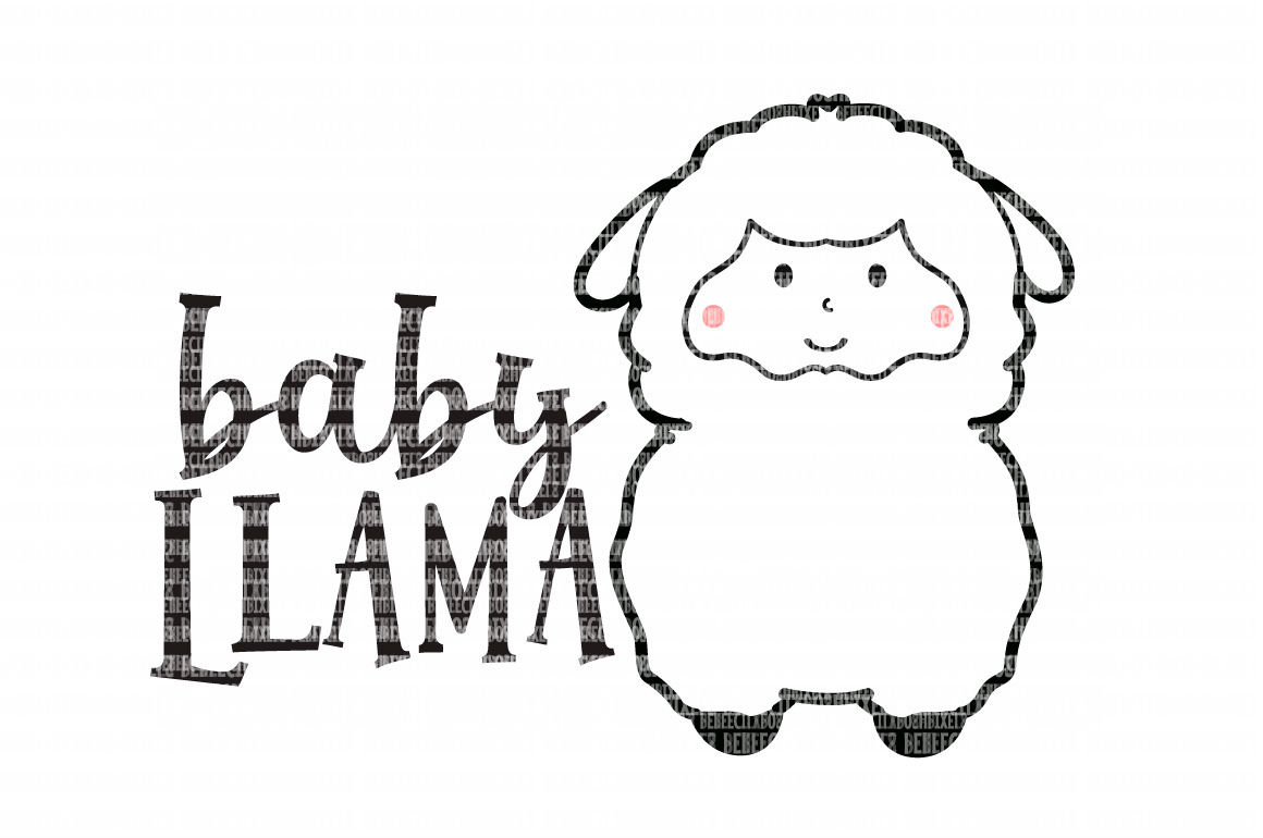 Baby Llama SVG File, SVG Files for Cameo and Cricut Design Space, Iron on Decal, Printable Transfer, DXF Commercial Use, example image 1