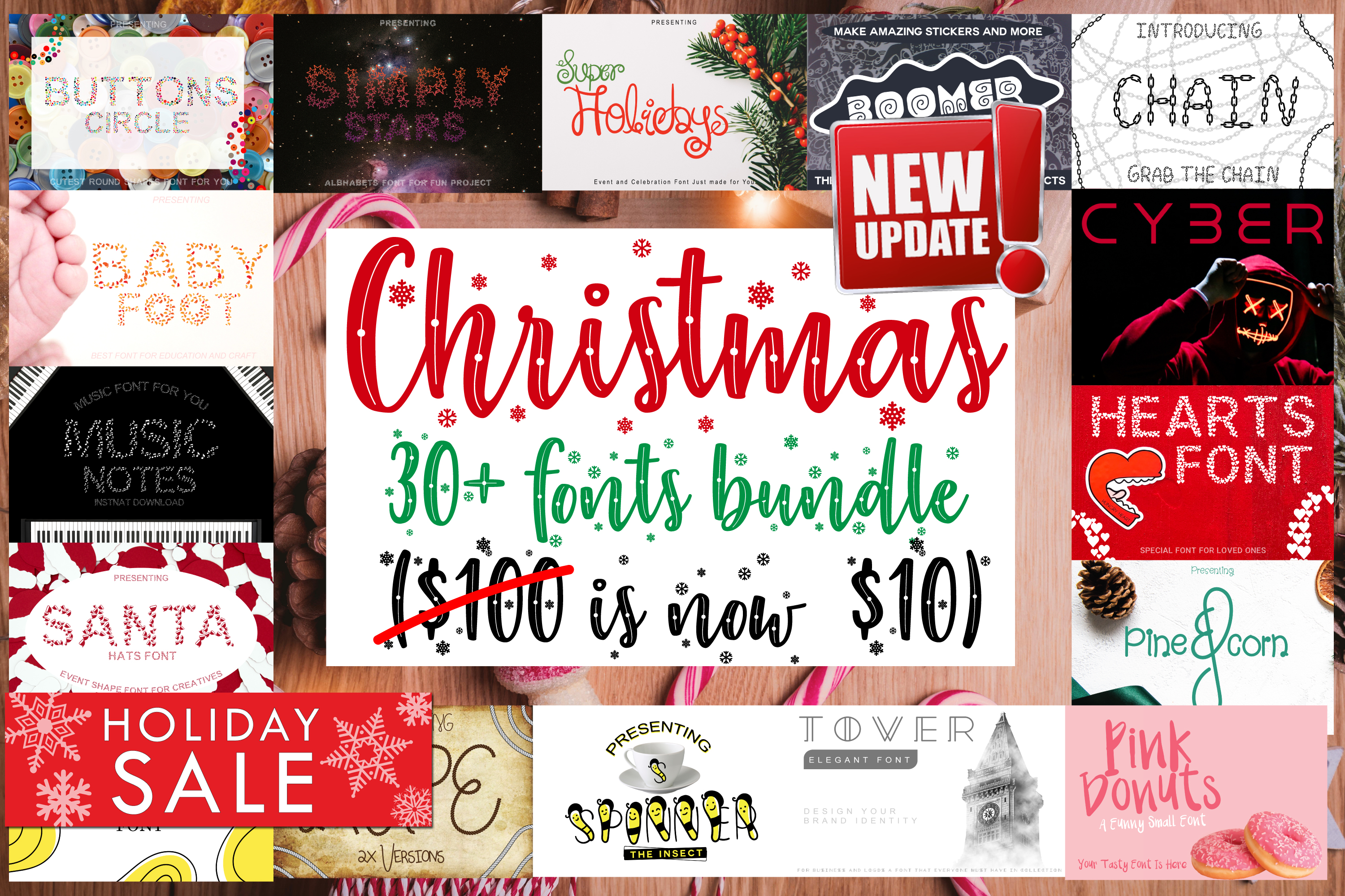 30 Plus Fonts Christmas 2019 Blessed Bundle example image 1