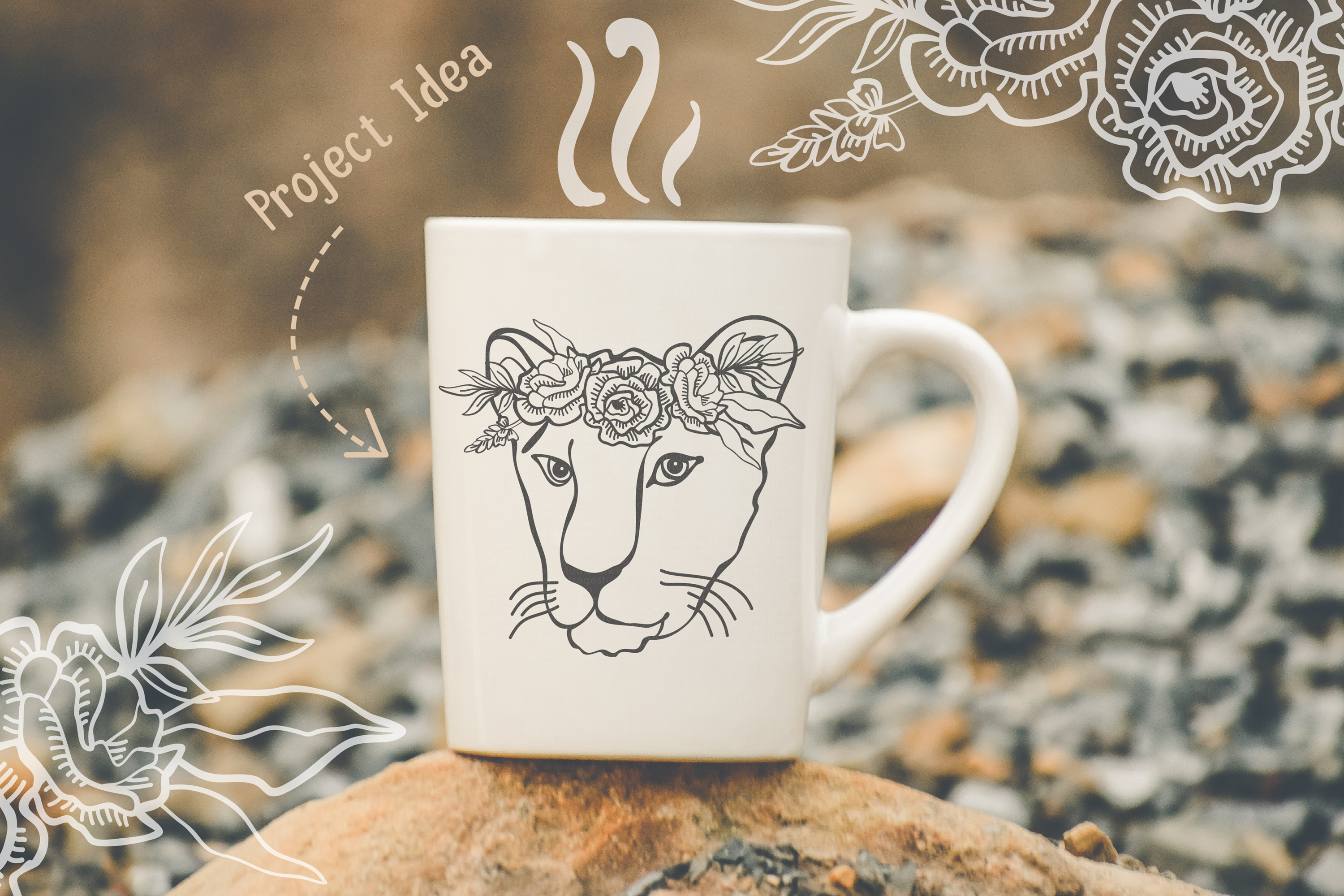 Lioness with floral crown SVG, Tattoo Decor Cut File