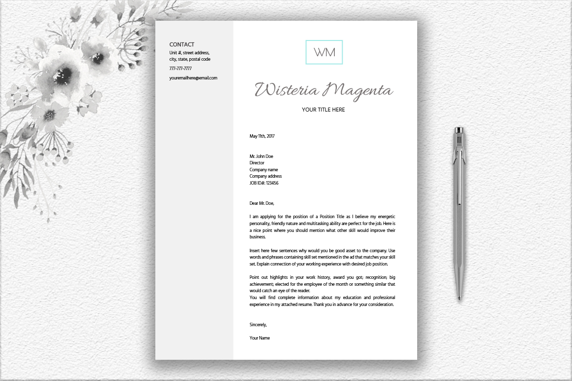 Monogrammed Resume Template Design example image 2