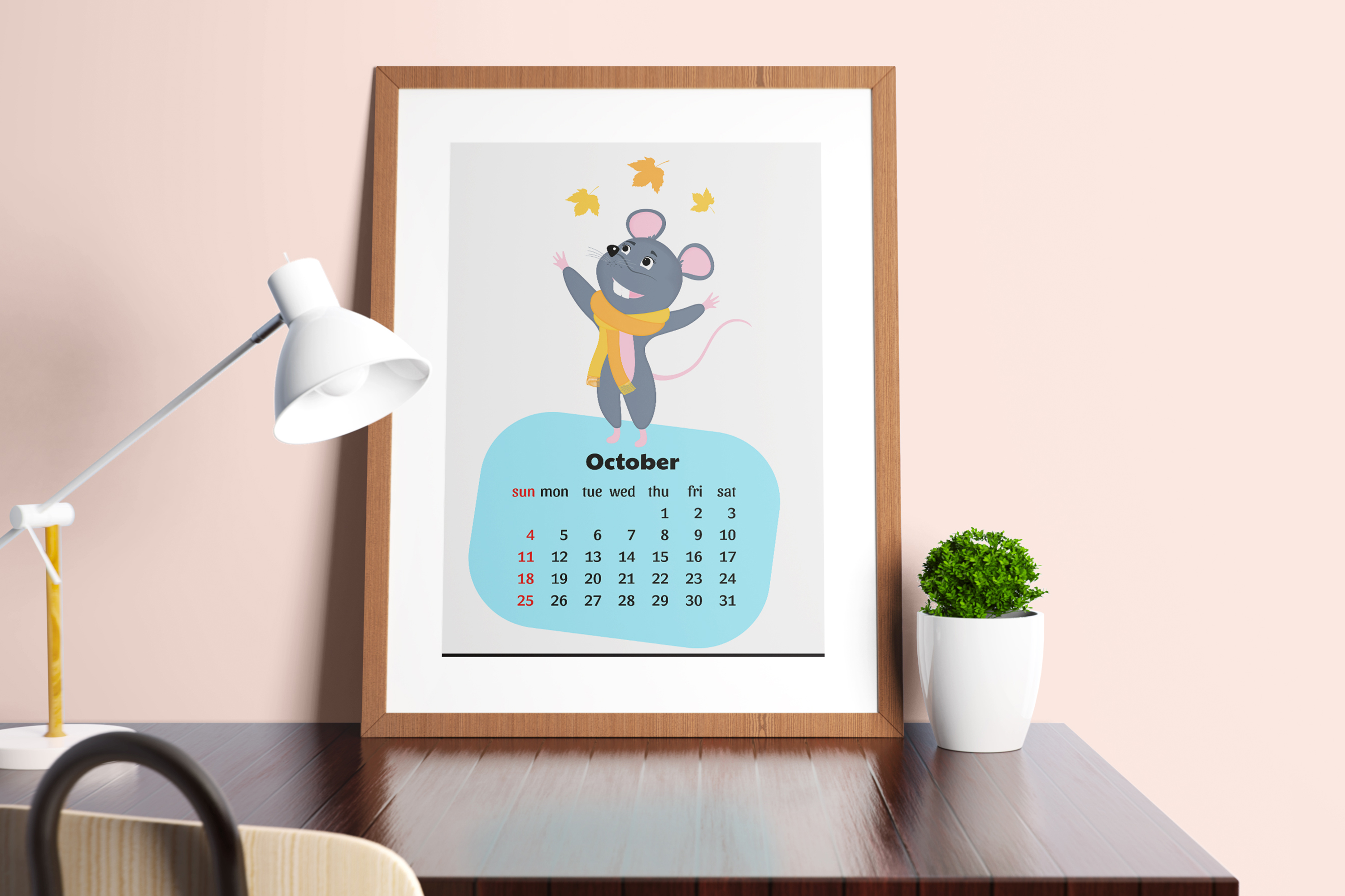 Funny mouse. Cute rats. Wall and desk calendars for 2020 example image 3