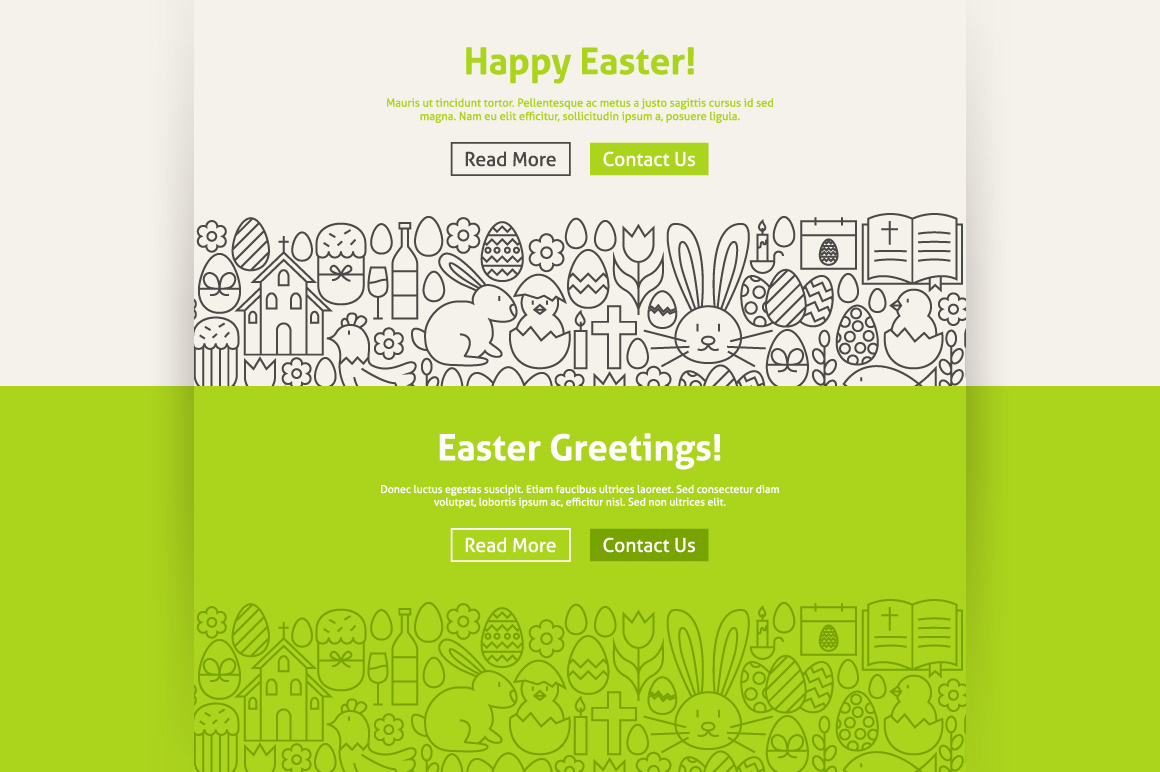 Happy Easter Line Art Web Banners example image 3
