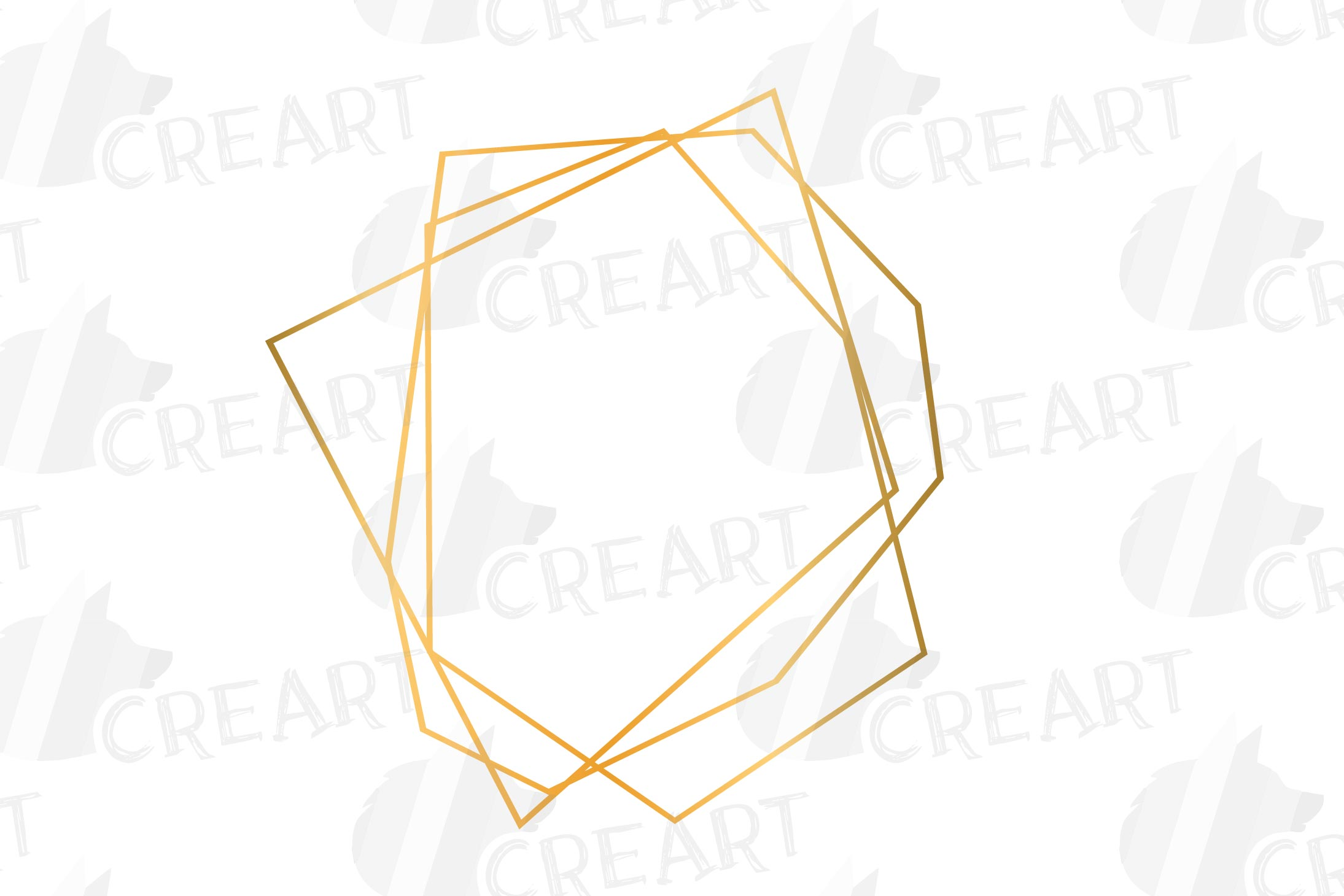 Golden geometric frames clip art. Wedding invite geo borders example image 3