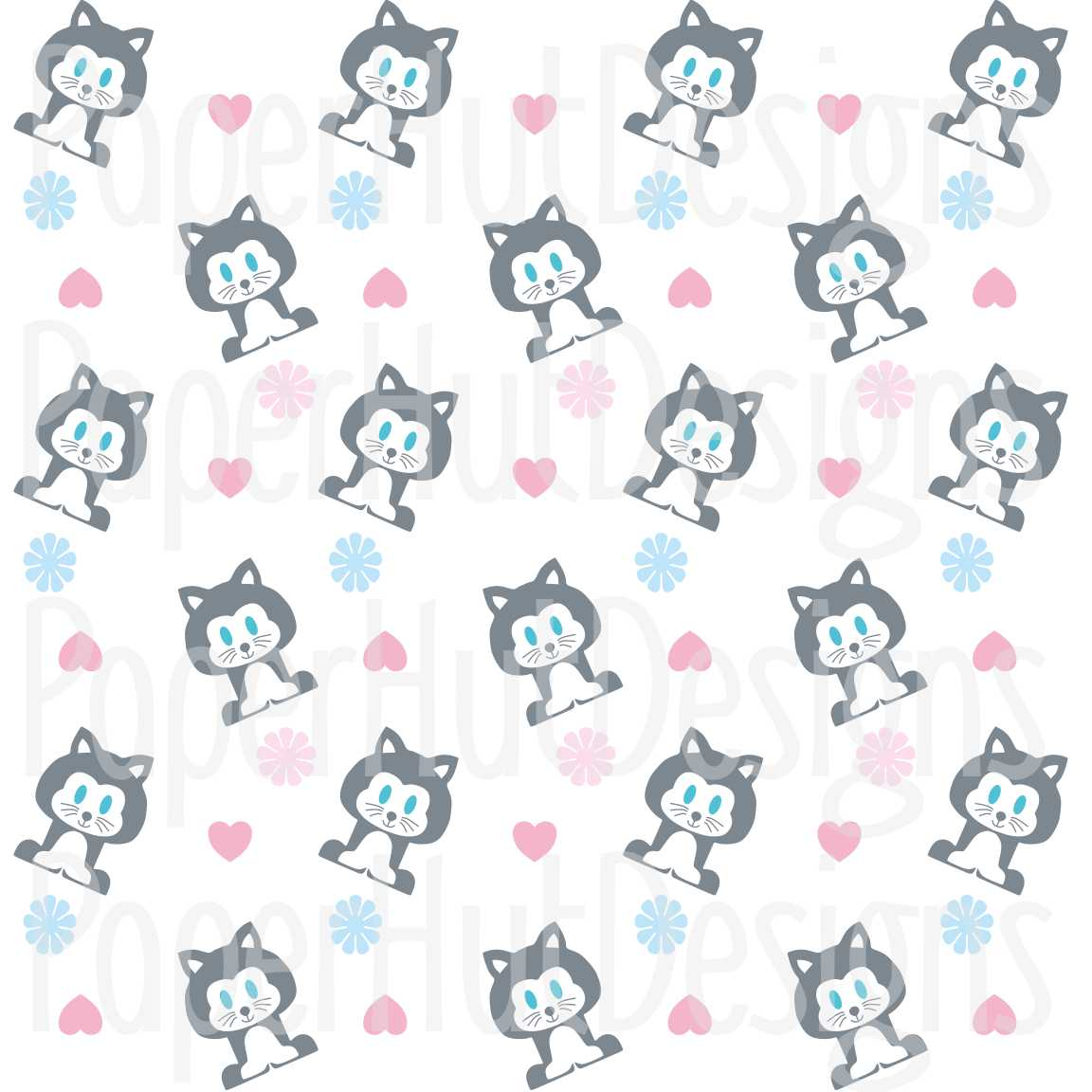 Cat Clipart and Digital Papers Set example image 3