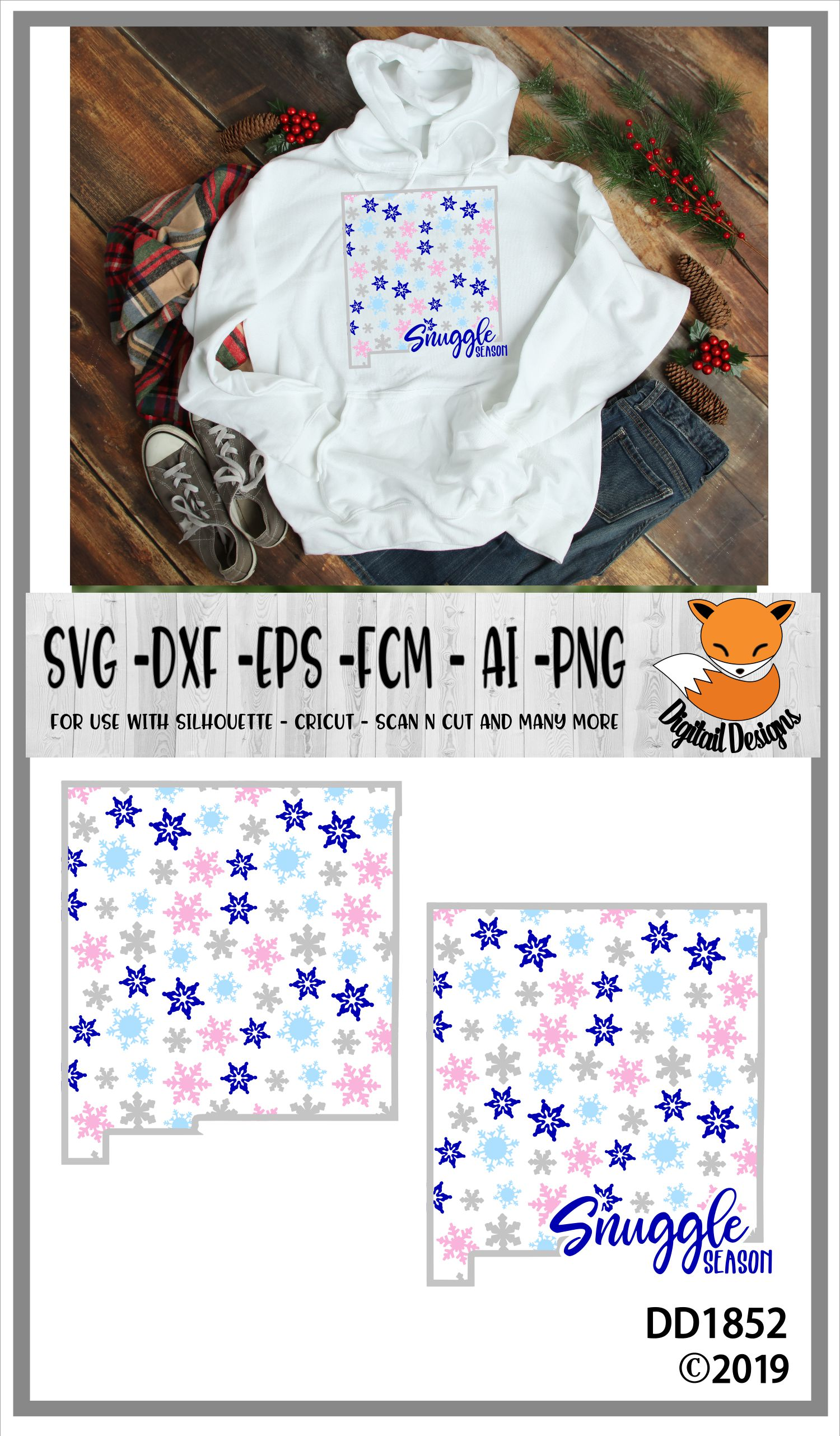 New Mexico Snowflake Winter SVG example image 2