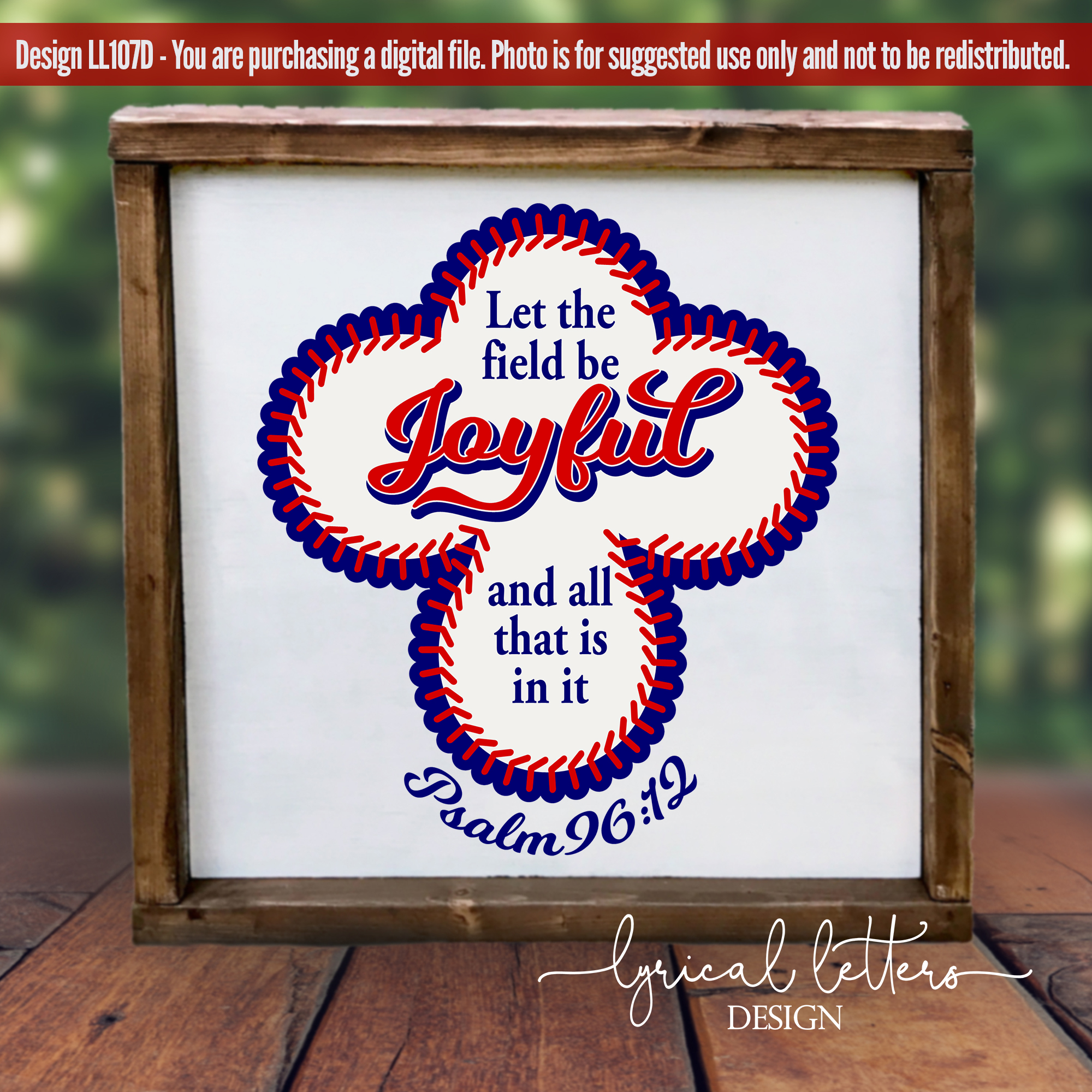 Psalm 96 Baseball Scripture SVG DXF Cut File LL108D example image 2
