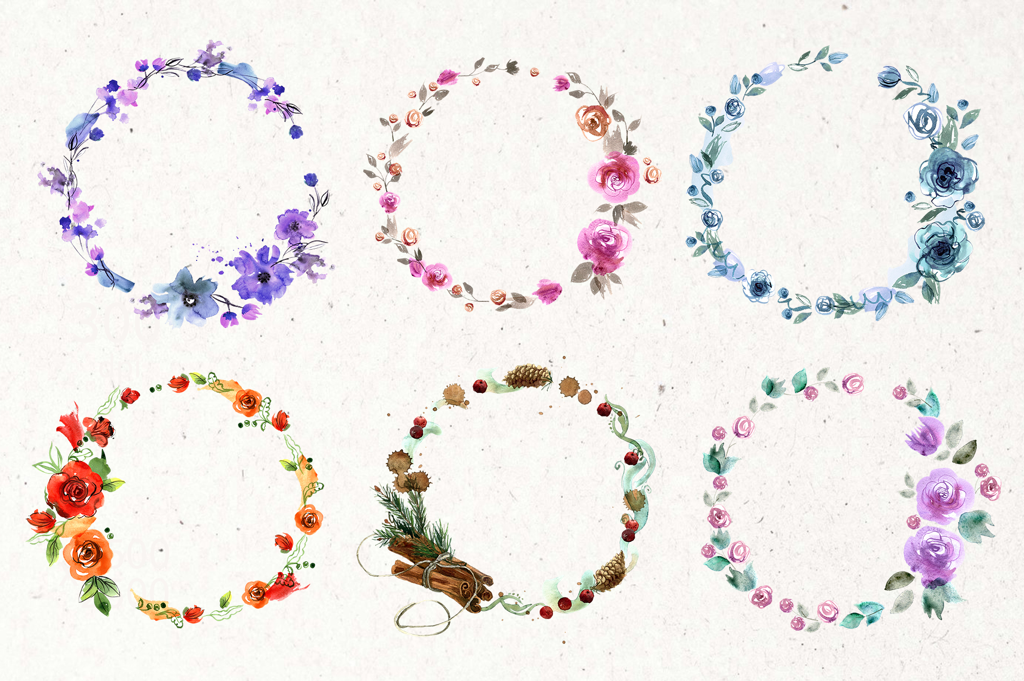 30 Watercolor Floral Wreaths example image 7