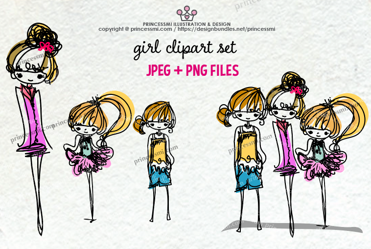 sketch style hand drawn girl clipart set , three girls example image 2