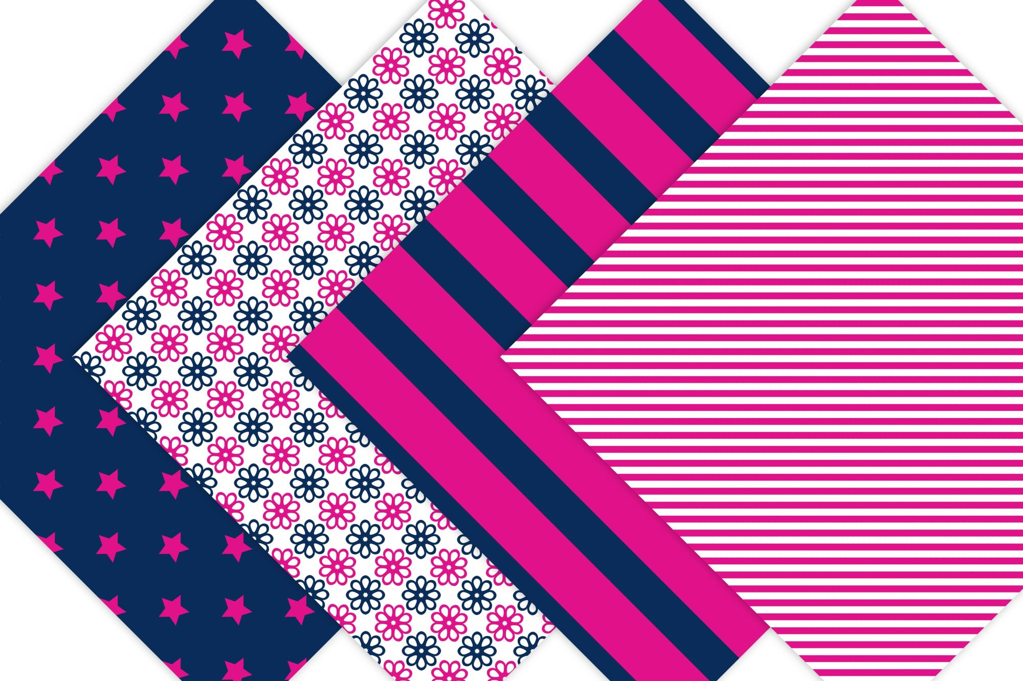 Hot Pink and Navy Digital Paper example image 4