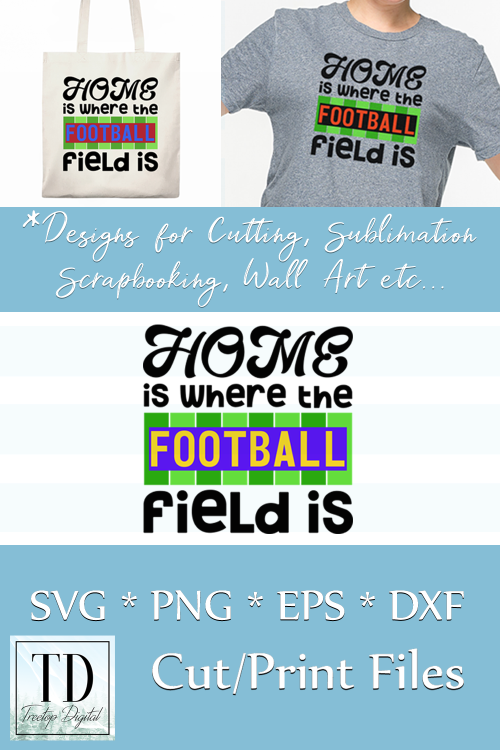 Home is where the Football Field Is, SVG, Sublimation Design example image 5