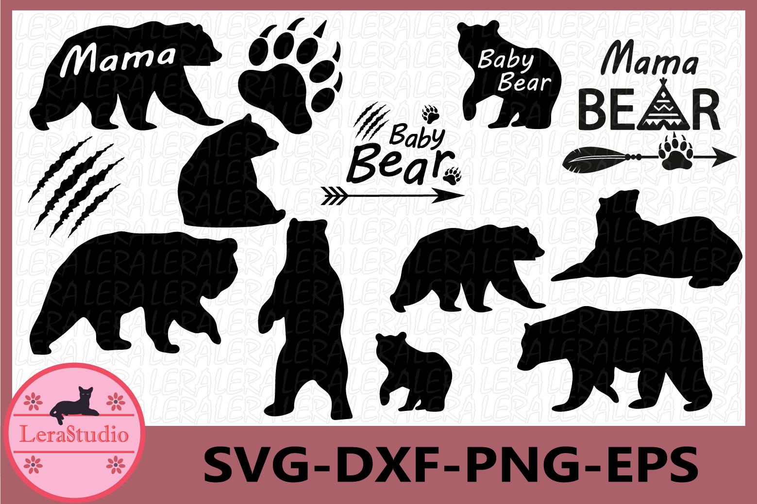 Bear Svg, Baby Bear svg, Bear Paw Cut Files, Mama Bear svg example image 1