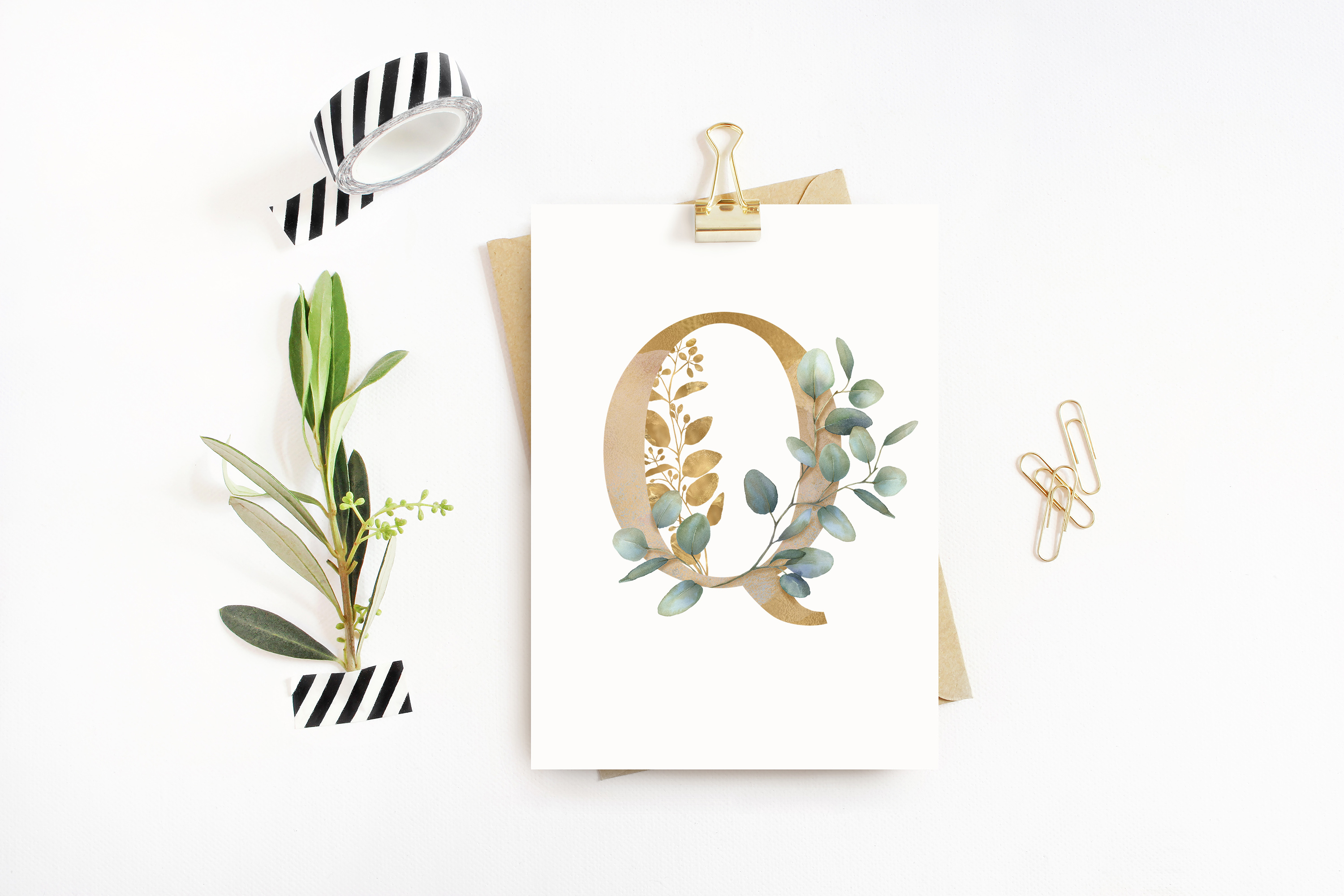 Watercolor Eucalyptus greenery collection clip art example image 15