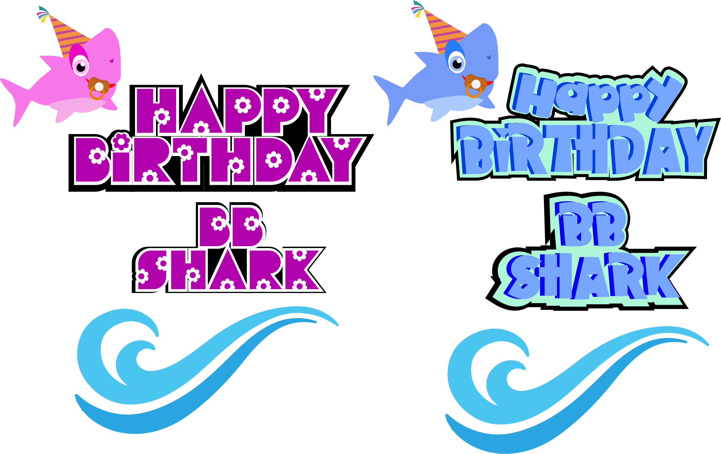 birthday svg, Shark , Boys Birthday, eps dxf, cut files, eps example image 1