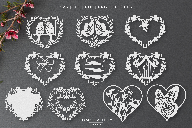 30 Designs! Romantic Hearts Bundle- SVG EPS DXF PNG PDF example image 2
