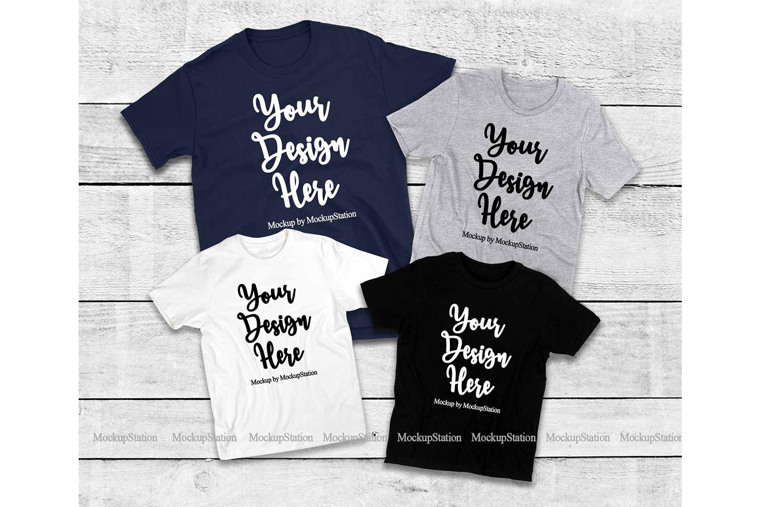 Matching Family T-Shirts Mockup, Parents Kids Shirt Flat Lay example image 1