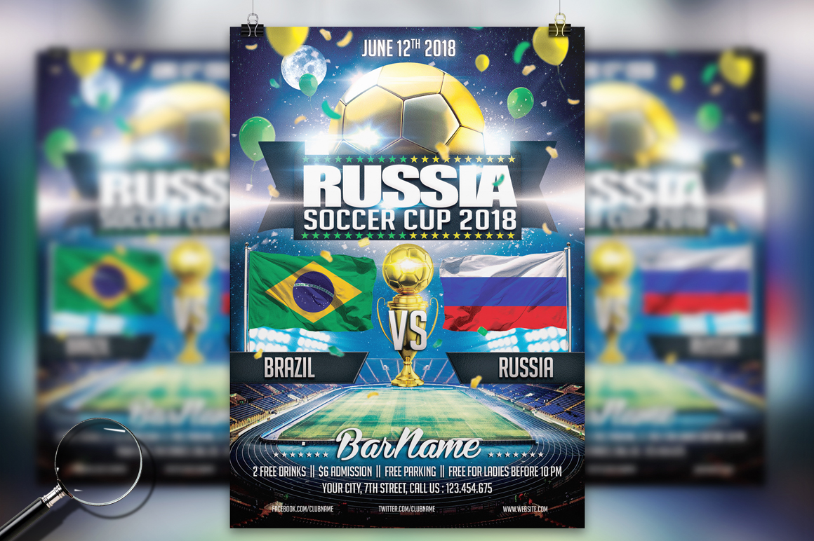 Soccer Russia World Cup 2018 | 2in1 Flyer Template example image 3