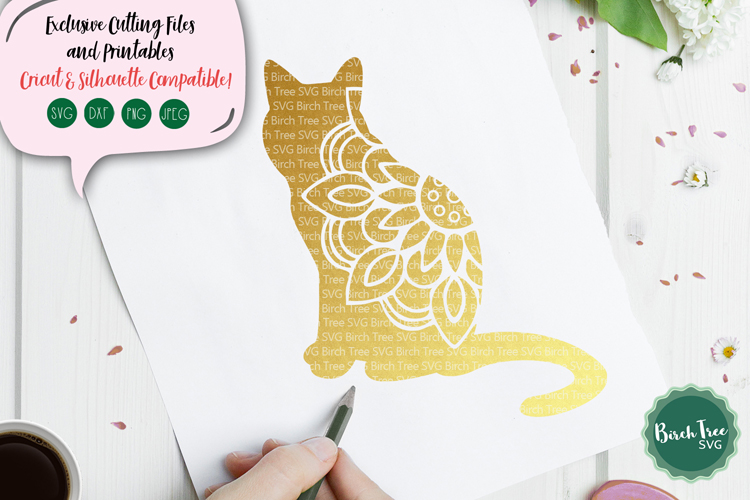 Cat Mandala SVG, Cat Svg, Cat Cut File, Cat Decal Svg Design example image 1