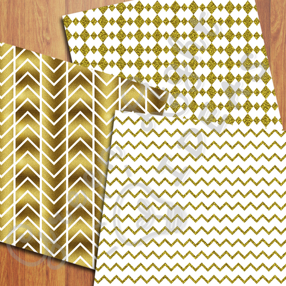 Gold And White Digital Papers example image 3