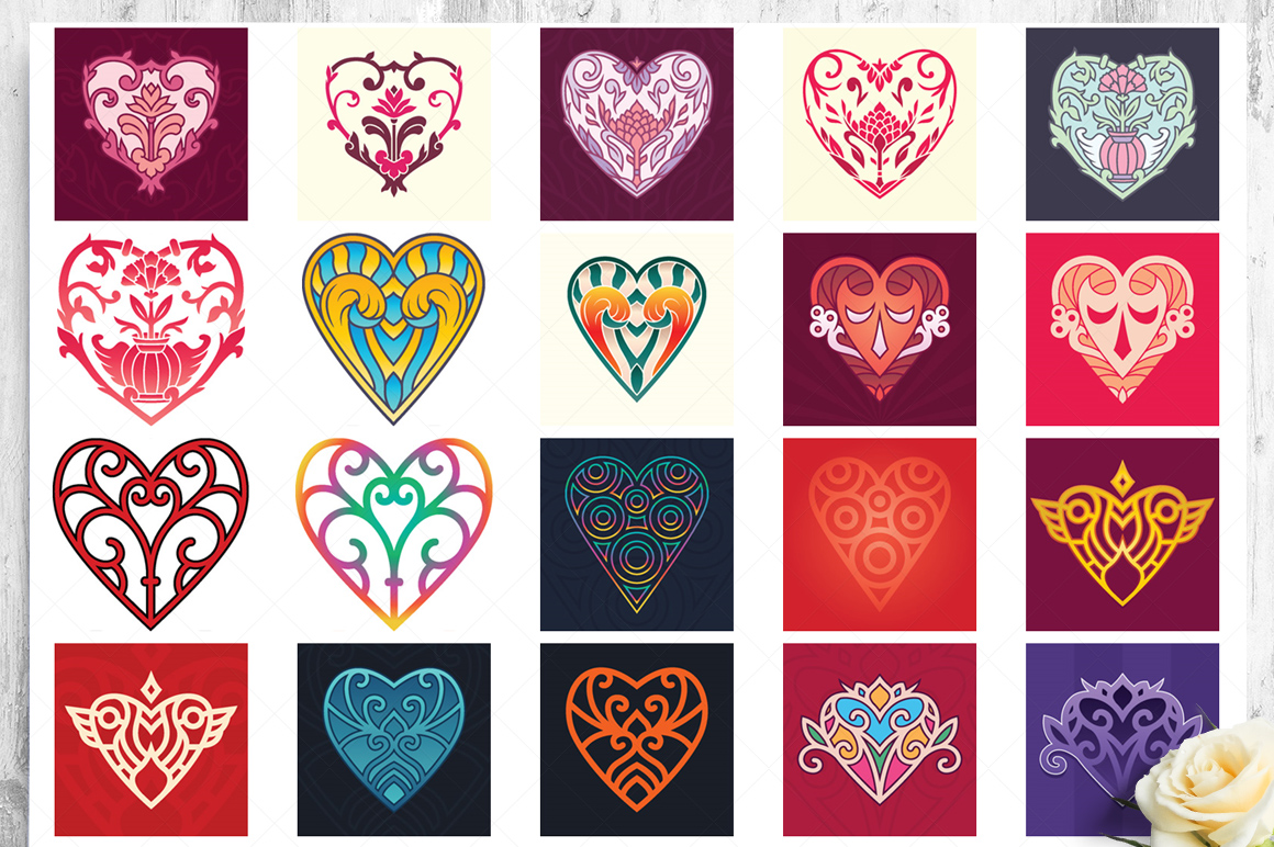 100 Heart Vector Ornaments and Seamless Patterns example image 17