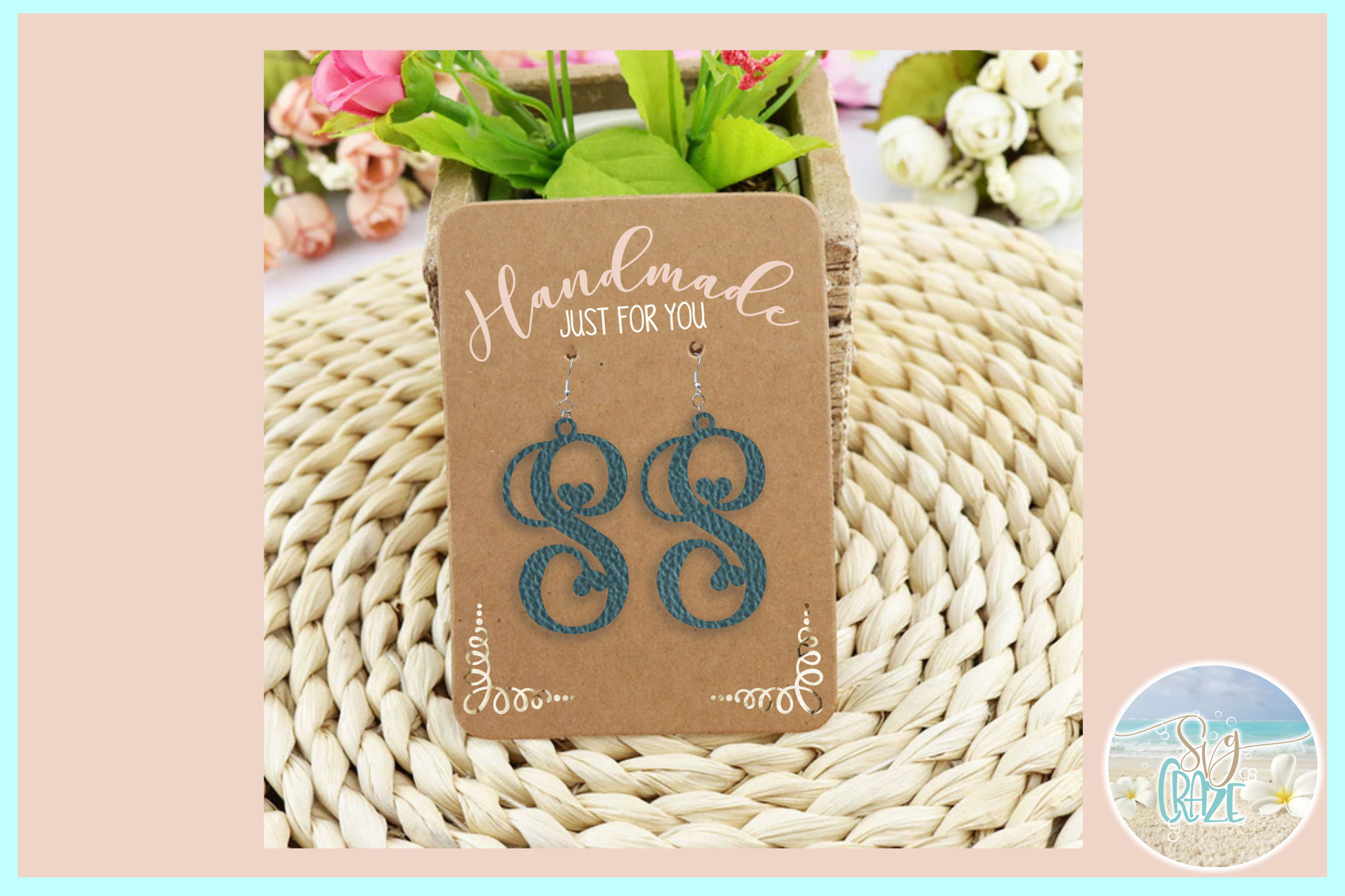 Monogram Initials Hearts Earring Bundle Faux Leather Jewelry example image 2