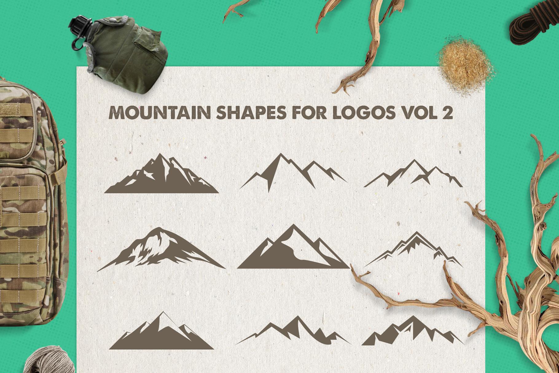 Mountain Shapes Bundle / Mountain Silhouette / Mountain SVG example image 3