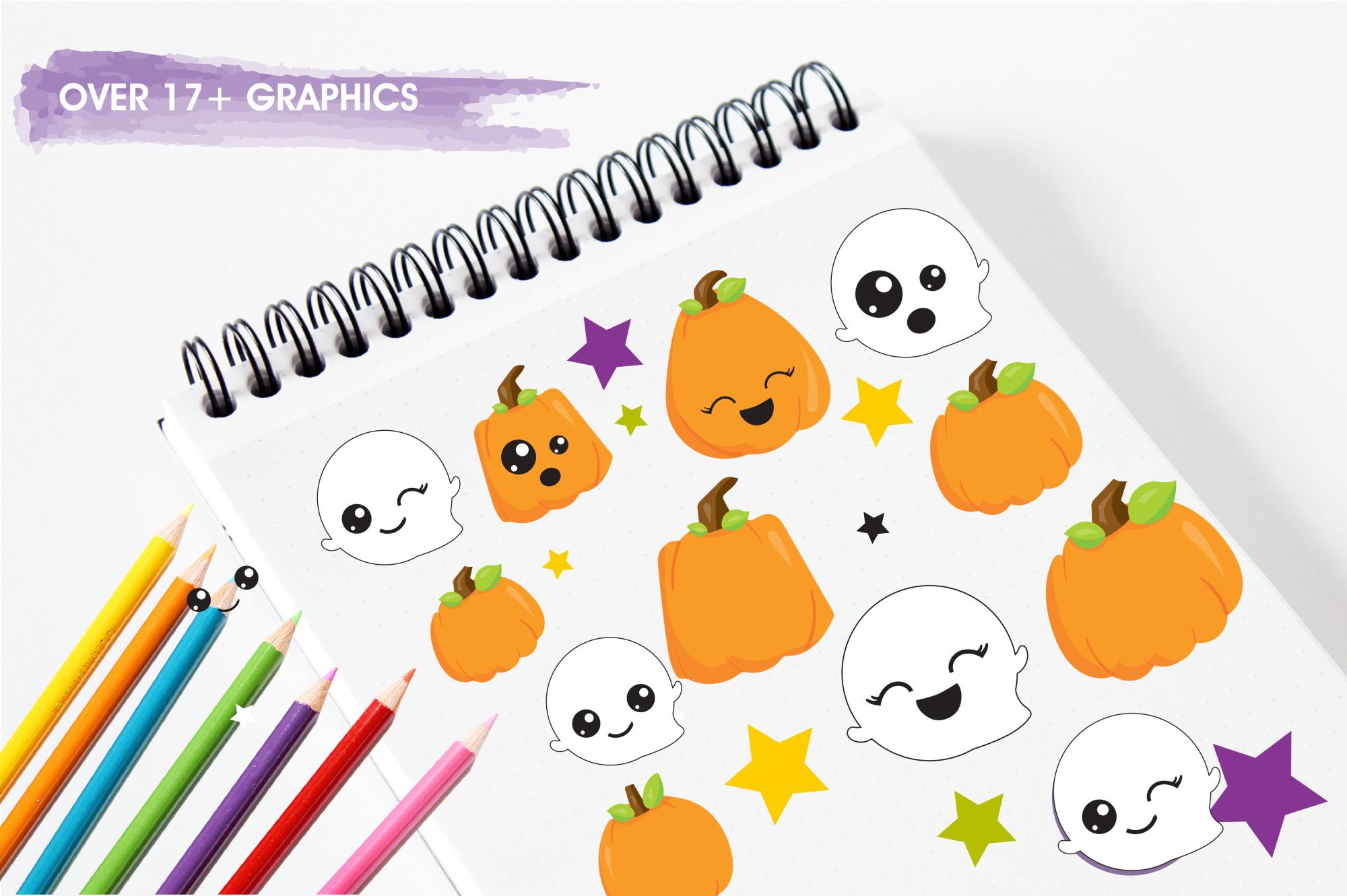 Halloween Kawaii graphics and illustrations