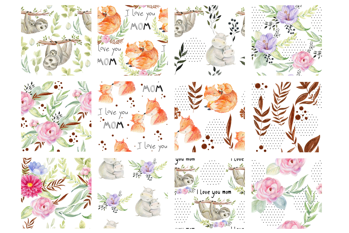 Mom and Baby. Watercolor seamless patterns. example image 10